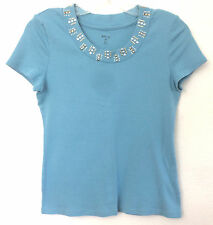 Style&Co Lt Teal Blue Cotton Top, Short Sleeves, Decorative Bling Neckline, P/S