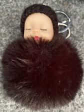 Super Cute Sleeping Baby Black Pom Pom Keyring