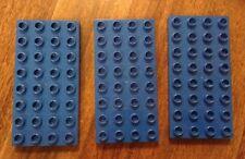 Lot of 3 Lego DUPLO Blue Base Plates 4 x 8 Stud Baseplates Platforms