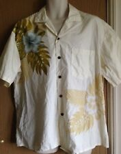 "Mens shirt size 50"" vintage 1980s Hawaiian with tropical flowers & palm leaves"
