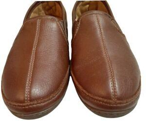 LL BEAN Men's Size 11m Brown Elkhide Leather Slippers Indoor/Outdoor #272346