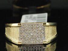 Fashion Statement Pinky Band 0.20 Ct. Diamond Ring Mens Square 10K Yellow Gold