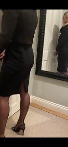 Vintage Gio Fully Fashioned Nylon Stockings - havana heel, black, size 12.5