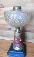 Terra cotta Oil lamp part crystal vase bowl cast iron base hand painted vintage