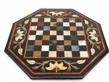 18'' Marble Chess Table Top Center Malachite Inlay Octagon With Wooden Stand