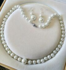 8-12mm White  South Sea Shell Pearl necklace AAA 18 inches Earring Set  j012