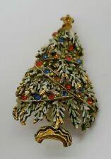 Vintage signed ART rhinestone Christmas Tree holiday brooch pin