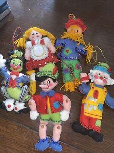 Handmade Bucilla Sequin Pinocchio Scarecrow 5 Vintage Christmas Tree Ornaments