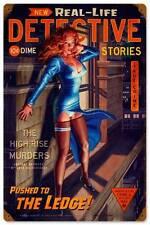 Detective The Ledge! Pin Up Girl Vintage Distress Metal Sign Wall Decor HB089