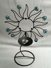 """Blue Glass Tipped Metal Wire Art Sun Candleholder Single Candle Stand 13"""" Tall"""
