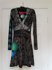 Desigual Ladies Dress, Full Sleeve, Black&Multi,Size XS/34,UK 8, V Neck, BNWOT