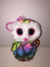 TY OWEN COLORFUL OWL BEANIE BOOS KEY CLIP,NEW W/TAG-SUPER CUTE & SOFT**IN HAND**