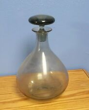 Mid Century Large Smoky Gray Blown Glass Wine/Brandy/Liquor Decanter/Italy