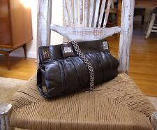 """New"" Kooba Metallic Charcoal Grey Shoulder Bag Purse Convertible Clutch"