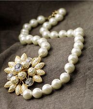 Elegant White Chunky Floral Pearl Glass Crystal Gold Tone Necklace Wedding