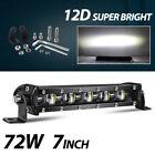Ultra-thin 7inch 72W LED Light Bar Spot Flood Combo Work SUV Offroad ATV 4WD US