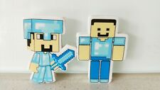 Minecraft Set of 2 - Diamond Steve & Steve Easer / Rubber Stationery (Brand NEW)