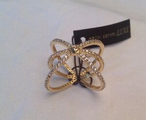 HENRI BENDEL LUXE PAVE ORBITAL CUFF RING GOLD SIZE 7.5/8 NWT