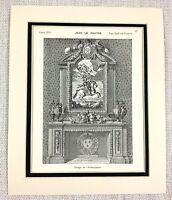 1903 Antik Aufdruck Louis XIV Kamin Verziert Französisch Chateau Interior Design