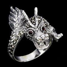 Bague argent 925 Dragon Daenerys du Typhon avec marcassite et CZ rouge