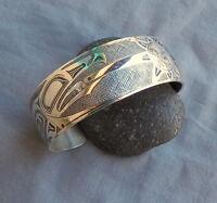 Large Sterling Metal Arts Group D.Dennis Raven Sun Cuff Bracelet 68 Grams