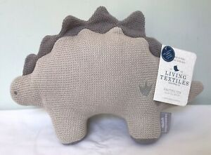 LIVING TEXTILES Grey Knitted Toy Shiloh Stegosaurus Dinosaur NWT Rattle Baby