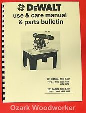 Dewalt 16 20 Radial Arm Saw Instructions Amp Parts Manual 0962
