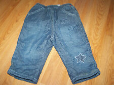 Infant Baby Size 6-9 Months The Children's Place Fleece Lined Denim Blue Jeans