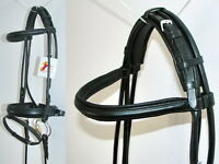 FSS German BLACK Padded ROLLED Leather Comfort Poll Crank Dressage Bridle Reins