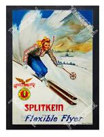 Historic Splitkein Flexible Flyer Skis Advertising Postcard