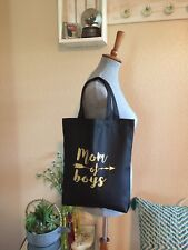 Mom Of Boys Canvas Tote Bag Black With Gold Lettering New With Tag