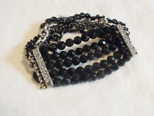 "Collectible Stretch Bracelet Silver Tone Black Bead Enamel Clear Rhinestones 1""W"