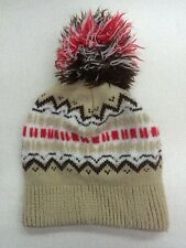 vintage stocking hat Wigwam pom pom tan red brown ski retro tuque cap beanie