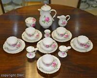 Kaffees Service 18 tlg. Meissen Dekor rote Rose Porzellan Marke Tassen Kanne