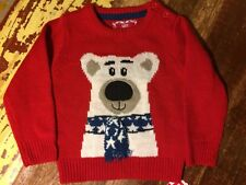 Baby Boys Girls Unisex Christmas Jumper Polar Bear Scarf 9-12 months Red BNWT