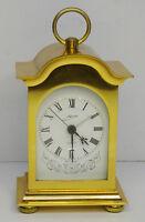 Edle elektromechanische Uhr Schmid Quartz Wecker Messing Tischuhr ~70er