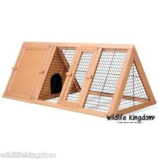 "Large Wooden Triangle Rabbit Run Hutch 46"" Guinea Pig Pets Outdoor House Play"