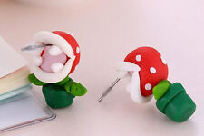 Hot Super Mario Piranha Plant Stud Handcraft Polymer Clay Earrings Gift Sale New
