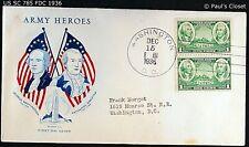 "US SC 785 FDC WITH CACHET ""ARMY HEROES"" 15 DEC 1936 1¢ G. WASHINGTON & N. GREENE"