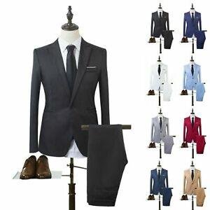 Men's Solid Suit Slim Fit Two Piece Coat Pants Trousers Formal Wedding Groom
