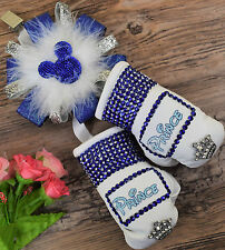 Stunning sparkly boxing gloves pram charm in royal blue  with bling rhinestones