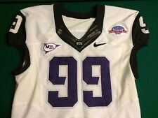 TCU Horned Frogs 2011 POINSETTIA BOWL PATCH Nike Game Worn White Jersey #99
