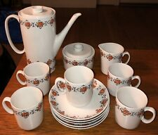 Mid Century Modern Chodziez Made In Poland Tea Coffee Set Orange Floral  Design