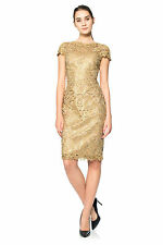 Size 2 Tadashi Shoji Gold Corded Embroidery Tulle Cap Sleeve Dress NWT $398