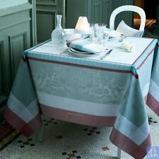 "NEW GARNIER THIEBAUT Amours Brume WOVEN TABLECLOTH 69"" x 69"" FREE 8oz Linen Wash"