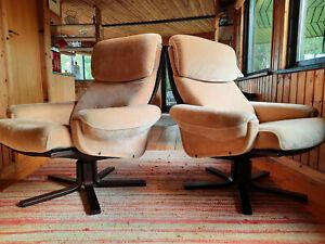 Sessel Drehsessel Vintage 60er Easy Swivel Chair 70er Danish Westnofa Ära 1/2