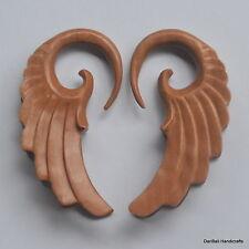 1 Pair Hand Carved Sawo Wood Floral Spiral Ear Expander Plugs Gauges 6G/4mm E5
