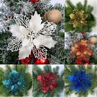 Christmas Ornaments Hanging 5Pc Tree Decor Glitter Flower New Festival Xmas