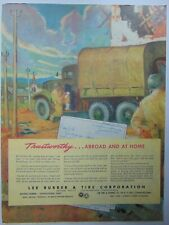 1945 LEE RUBBER TIRE CO. WWII ARMY TRUCK SOLDIER  vintage art print ad