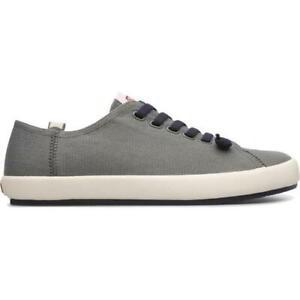 Camper Peu Rambla Mens Elastic Lace Up Grey Canvas Trainers Shoes Size UK 7-12